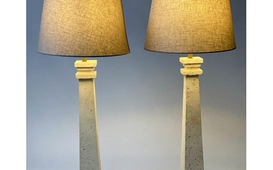 TABLE LAMPS, a pair, square tapering travertine marble colum...