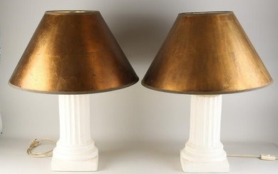 Two column-shaped table lamps