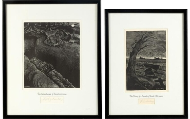 Two wood engravings framed w/ signatures