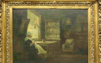 Unsigned 'Lady with handicraft in interior' oil on canvas 35...