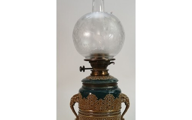Victorian pottery oil lamp with Hinks burner: Embossed potte...