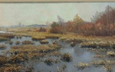 WELLENS Ch. signed Panoramic landscape with lake' oil on canvas...