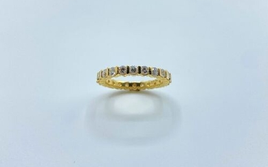 Wedding band in 18K (750°/00) yellow gold full turn set...