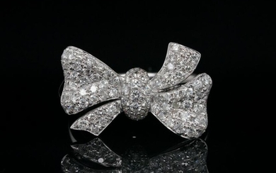 1.00ctw SI1-SI2/G-H Diamond and 18K Bow Ring