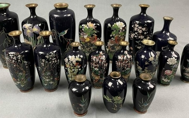 18 cloisonné vases. Probably Japan, China old.