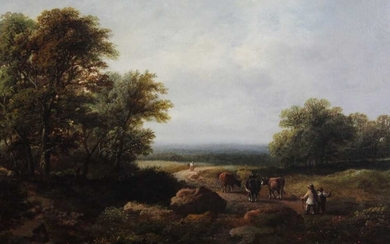 19th century, English School, oil on canvas - figures and cattle in an extensive landscape, in gilt frame, 32.5cm x 48.5cm Provenance: Estate of the Late Jane Sumner