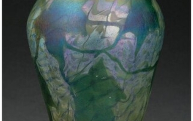 79025: Tiffany Studios Decorated Favrile Glass Leaf and