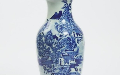 A Blue and White 'Landscape' Vase, Early 20th Century