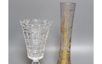 A Bohemian gilt decorated glass vase and a Waterford cut gla...