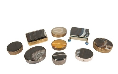 A COLLECTION OF NINE 19TH CENTURY AND LATER AGATE AND METAL ...