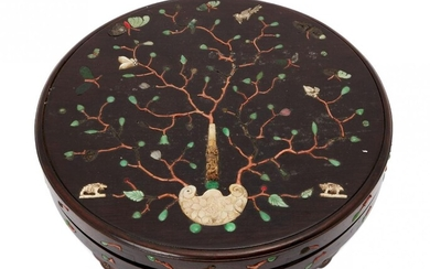 A Chinese hardwood circular box and cover, 18th century, inlaid...