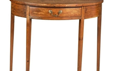 A Federal Pine Demi-Lune Console Table