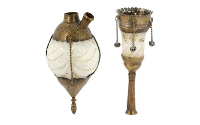 A GILT DIAMOND-CUT OPALINE GLASS QALYAN BOTTLE AND CUP Iran, late 19th - early 20th century
