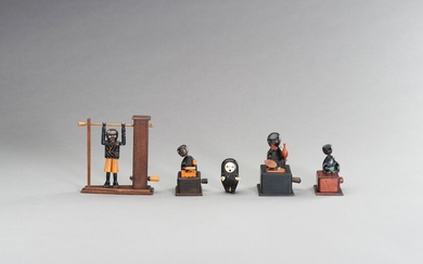 A GROUP OF FIVE AMUSING WOOD KOBE TOYS