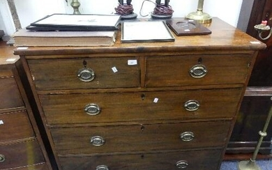 A Georgian mahogany Chest-of-Drawers, two short and three lo...