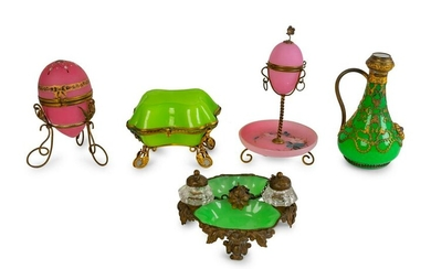 A Group of Five French Opaline Glass and Gilt Metal