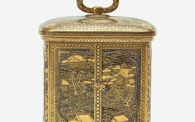 A Japanese gold-inlaid iron miniature cabinet