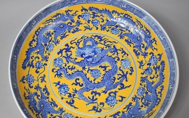 A Large Chinese Blue and White Charger Decorated with Centra...