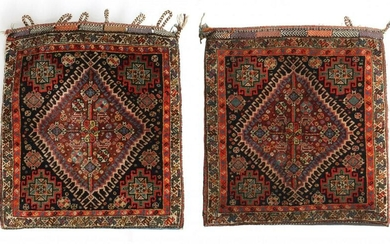 A PAIR OF COMPLETE PERSIAN QASHQAI BAGS WITH BACKING