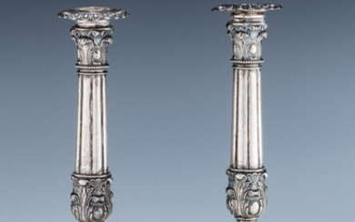 A PAIR OF LARGE SILVER CANDLESTICKS. Germany, 19th century....