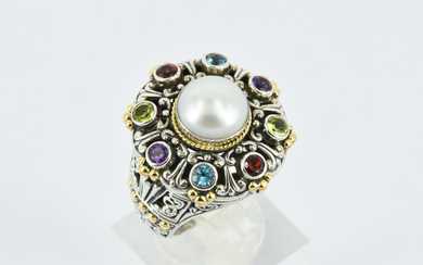 A PEARL, MULTI GEMSTONE AND SILVER RING
