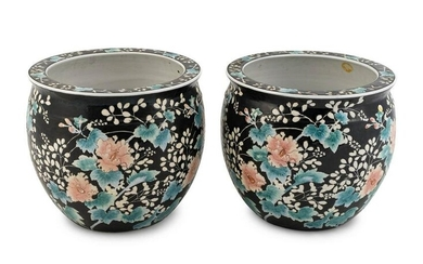 A Pair of Chinese Famille Rose Porcelain Fish Bowls