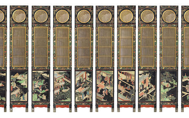 A RARE TWELVE LEAF COROMANDEL LACQUER DOUBLE-SIDED SCREEN