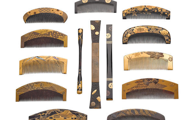 A SET OF LACQUERED COMBS AND HAIRPINS