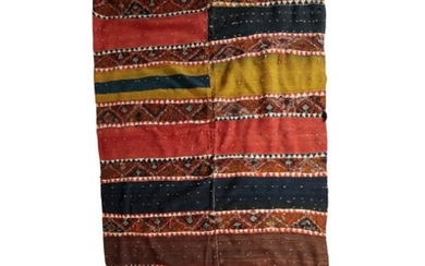 A TURKISH KILIM 'SHEPHERDS TENT' RUG made from two separate ...