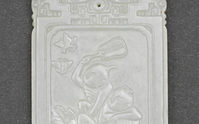 A WHITE JADE 'BOYS AND BUTTERFLIES' PLAQUE