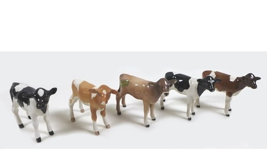 A group of five Beswick calves, including two Friesian calve...