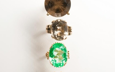 A group of gemstone and fourteen karat white or yellow
