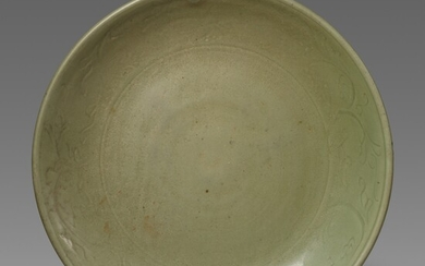 A large Longquan celadon charger. 15th century