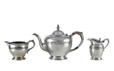 A (lot of 3) Sterling tea ware: a two piece Concord