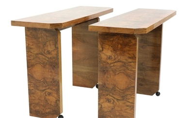 A pair of Art Deco burr walnut-style console tables