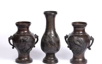 A pair of Japanese bronze baluster vases