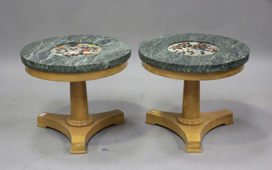 A pair of mid-20th century marble top lamp tables, each circular green marble top inset with a Chine