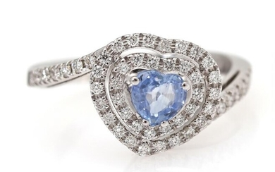 NOT SOLD. A sapphire and diamond ring set with a sapphire encircled by diamonds, mounted in 18k white gold. Size 54. – Bruun Rasmussen Auctioneers of Fine Art