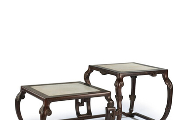 A zitan and marble table stand 18th century
