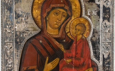 AN ICON SHOWING THE TIKHVINSKAYA MOTHER OF GOD WITH...