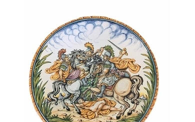 AN ITALIAN MAJOLICA RENAISSANCE STYLE CHARGER Painted with a...