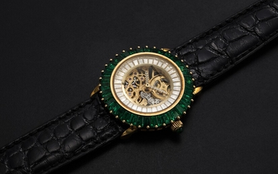 AUDEMARS PIGUET, A LADIES GOLD WRISTWATCH SET WITH EMERALDS, DIAMONDS, AND A SKELETONISED DIAL, ENGRAVED NO. 1
