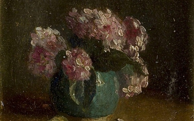 Adriana Sophia Fontein, Dutch 1888-1965- Still life with vase of hydrangeas; Still life with fruit and a wine glass; Still life with basket of onions and a pitcher; oils on board, each signed (lower left), each 8 x 9 cm., three (3). (ARR). Note:...