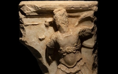Ancient Roman Marble Fragment of a sarcophagus for a soldier H: 43 cm