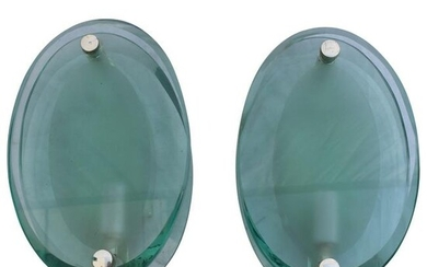 Art Deco Modern Glass Wall Sconces, Silver Plated