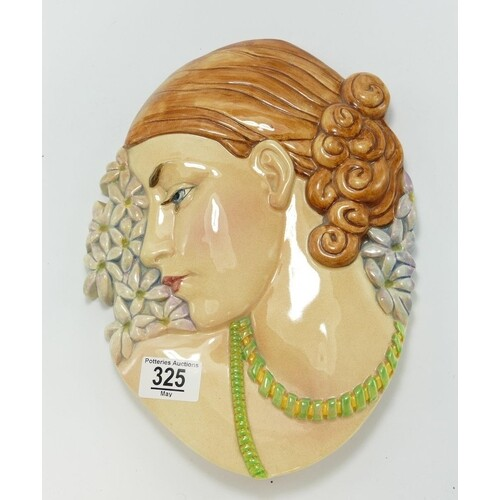 Beswick Ware Art Deco wall plaque 436: lady with beads.