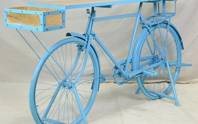Blue Bicycle Console Table - Reclaimed Wood Top