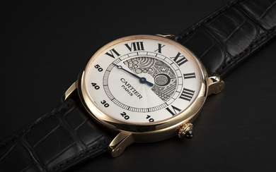 CARTIER, ROTONDE JOUR ET NUIT, A GOLD WRISTWATCH WITH HAND-ENGRAVED DAY AND NIGHT DISPLAY AND RETROGRADE MINUTES HAND