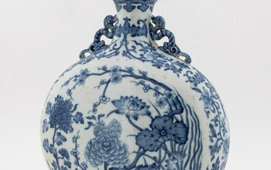 CHINESE BLUE & WHITE MOON FLASK FLORAL VASE