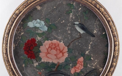 CHINESE REVERSE PAINTING ON GLASS OF BIRD, FLOWERS AND ROCKWORK, QING DYNASTY (18TH/19TH CENTURY)